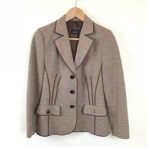 Basler Jacket Striped Wool Blazer Brown 34 V Neck